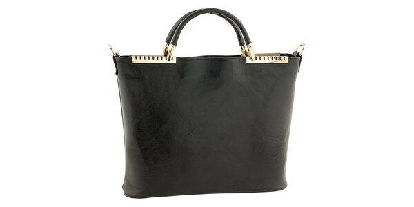 Dámská černá kožená kabelka s kovovými detaily Tina Panicucci