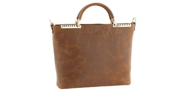 Dámská hnědá kožená kabelka s kovovými detaily Tina Panicucci
