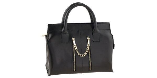 Dámská černá kožená kabelka se zipovými kapsami Tina Panicucci