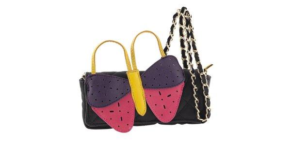 Dámská černá kožená kabelka s velkým barevným motýlem Tina Panicucci