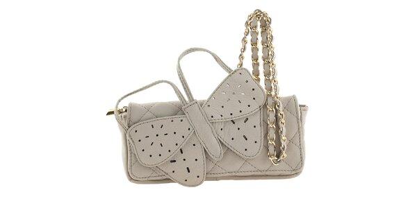 Dámská krémová kožená kabelka s velkým motýlem Tina Panicucci