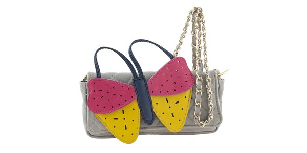 Dámská šedá kožená kabelka s velkým barevným motýlem Tina Panicucci