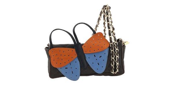 Dámská tmavě hnědá kožená kabelka s velkým barevným motýlem Tina Panicucci