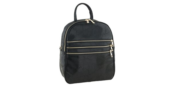 Dámský černý kožený batůžek Tina Panicucci