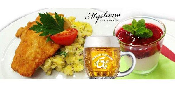 Vídeňský telecí řízek s přílohou, dezertem a nápojem