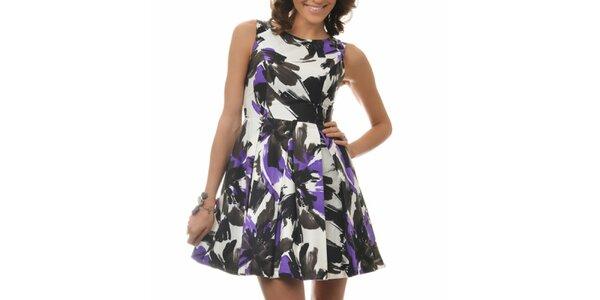 Dámské bílo-černo-fialové šaty se vzorem Dia Vynne