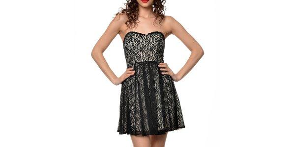 Dámské béžovo-černé šaty Dia Vynne