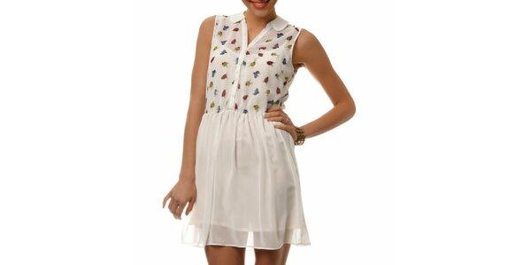 Dámské bílé šaty s barevnými beruškami Dia Vynne