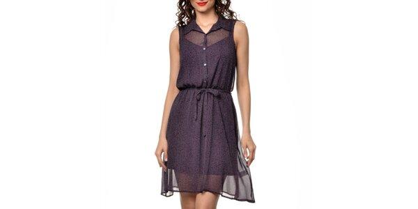 Dámské tmavě fialové košilové šaty s puntíky Dia Vynne