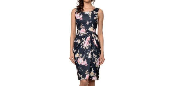 Dámské černé šaty s barevným květinovým potiskem Dia Vynne
