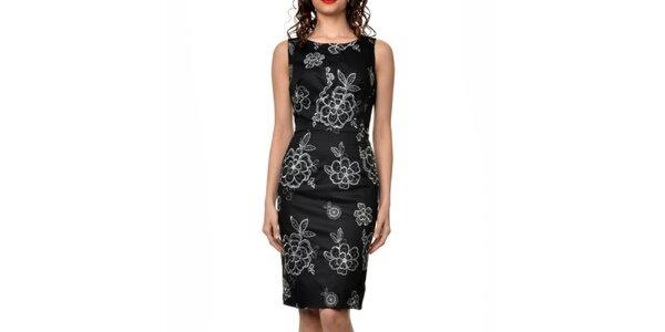 Dámské černé šaty s květinovými výšivkami Dia Vynne