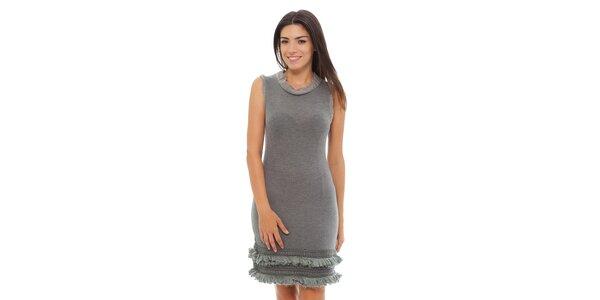 Dámské světle šedé melírované šaty Ada Gatti s volánky
