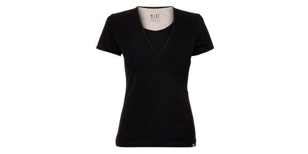 Dámské triko YU Feelwear s výstřihem do V v černé barvě