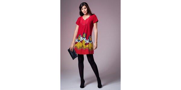 Dámské červené šaty Ada Gatti s barevným vzorem