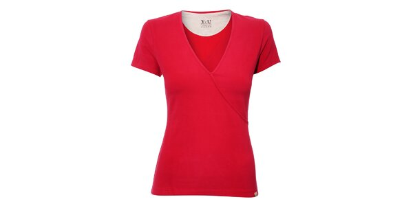 Dámské triko YU Feelwear s výstřihem do V v jahodové barvě