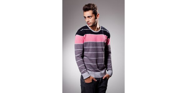 Pánský růžovo-šedý proužkovaný svetr Celop
