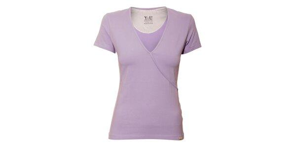 Dámské triko YU Feelwear s výstřihem do V v barvě lila