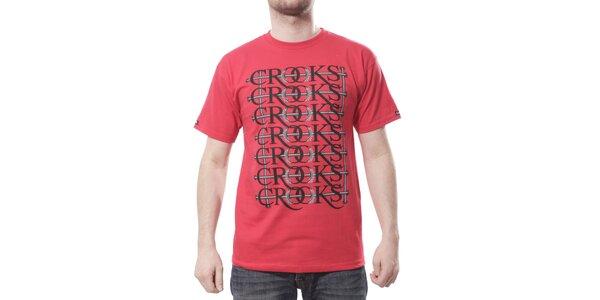 Pánské zářivě červené tričko Crooks & Castles s čenošedým potiskem