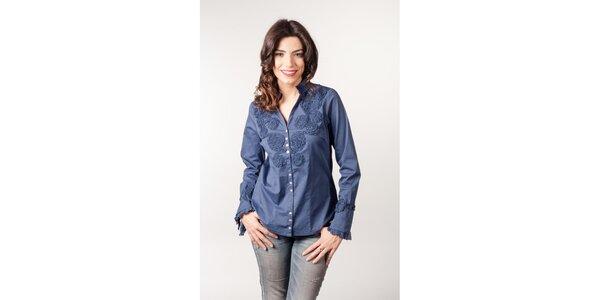 Safírová košile s květinovou aplikací CurioCity