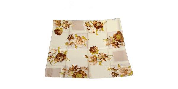 Dámský béžový hedvábný šátek Gianfranco Ferré s květy