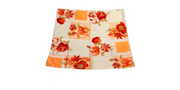 Dámský oranžový hedvábný šátek Gianfranco Ferré s květy