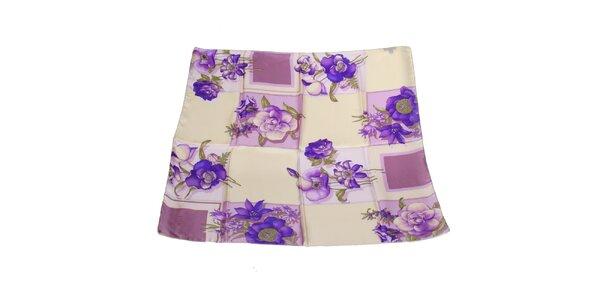 Dámský fialový hedvábný šátek Gianfranco Ferré s květy