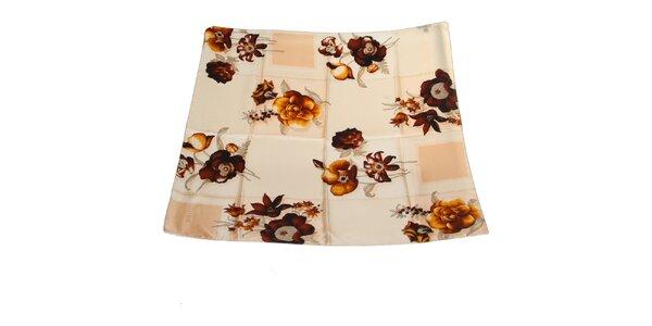 Dámský hnědo-béžový hedvábný šátek Gianfranco Ferré s květy