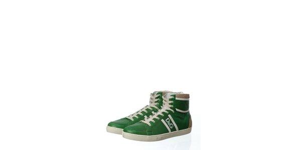 Pánské zelené kožené tenisky Dolce & Gabbana s plstí