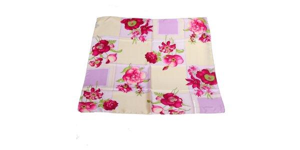 Dámský růžovo-fialový hedvábný šátek Gianfranco Ferré s květy