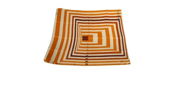 Dámský karamelový hedvábný šátek Gianfranco Ferré s grafickým vzorem