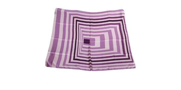 Dámský šeříkový hedvábný šátek Gianfranco Ferré s grafickým vzorem