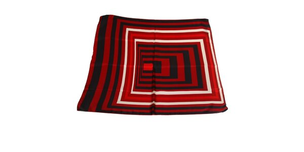 Dámský červeno-černý hedvábný šátek Gianfranco Ferré s grafickým vzorem