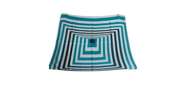 Dámský tyrkysový hedvábný šátek Gianfranco Ferré s grafickým vzorem