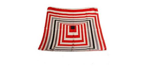 Dámský červeno-bílý hedvábný šátek Gianfranco Ferré s grafickým vzorem