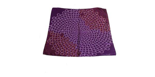 Dámský fialový hedvábný šátek Gianfranco Ferré s motivem kruhů