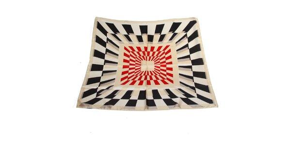 Dámský béžovo-černý hedvábný šátek Gianfranco Ferré s červenými akcenty