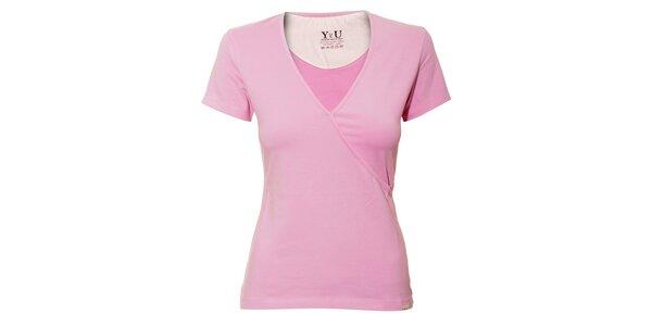 Dámské triko YU Feelwear s výstřihem do V ve světle růžové barvě