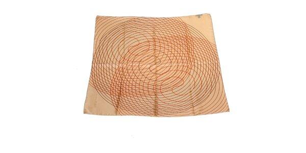 Dámský béžový hedvábný šátek Gianfranco Ferré se spirálami