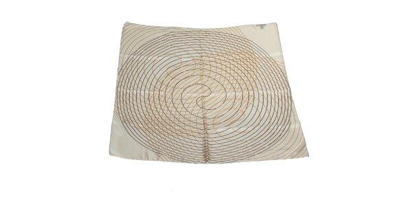 Dámský světle šedý hedvábný šátek Gianfranco Ferré se spirálami
