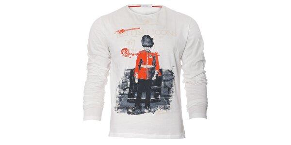 Pánské bílé tričko Free Wave s dlouhým rukávem a barevným potiskem
