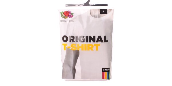 Pánské bílé tričko Fruit of the Loom kulatý výstřih - 3 ks
