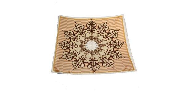 Dámský béžovo-hnědý hedvábný šátek Gianfranco Ferré s ornamentem