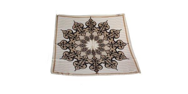 Dámský šedo-béžový hedvábný šátek Gianfranco Ferré s ornamentem