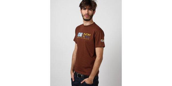 Pánské hnědé tričko Indian Face s potiskem