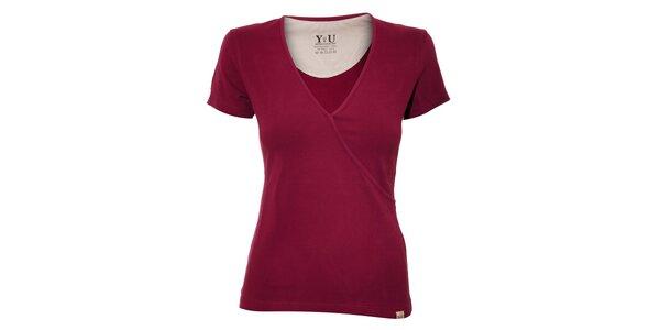 Dámské triko YU Feelwear s výstřihem do V ve vínové barvě