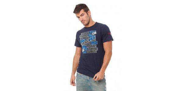 Pánské tmavě modré tričko Indian Face s potiskem