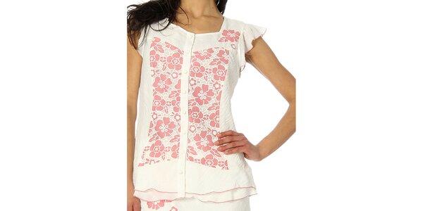 Dámský bílý top s růžovými květy Squise