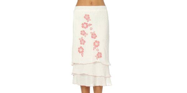 Dámská bílá sukně s růžovými květy Squise