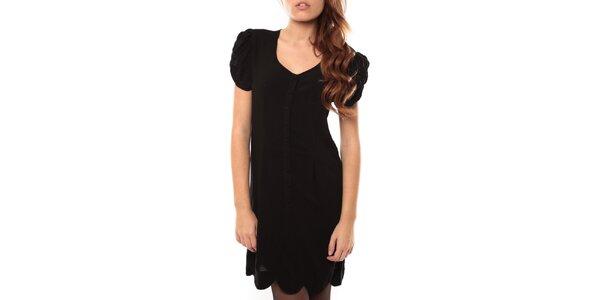 Dámské černé šaty s nabíranými rukávky My Little Poesy