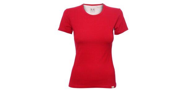 Dámské triko s kulatým výstřihem YU Feelwear v jahodové barvě